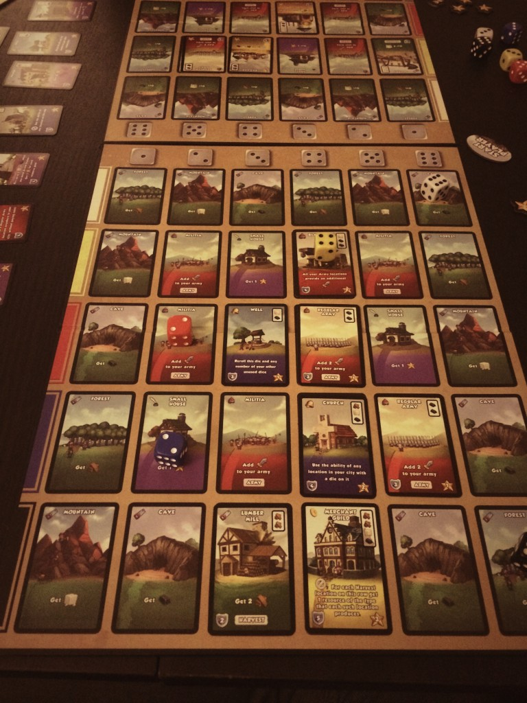 Dice City player board. The dice land on intersection of number and color